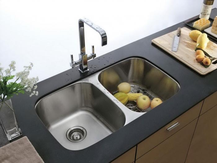 modest modern kitchen sinks in two basin over black countertop - Kitchen Basin Sinks