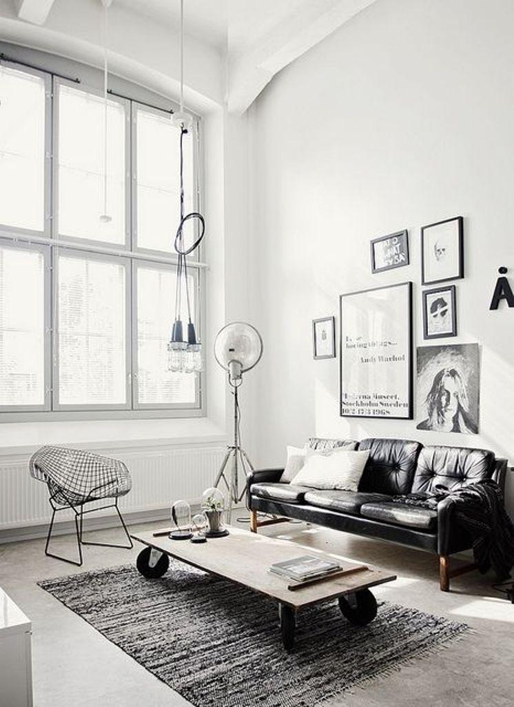 Monochromatic Industrial Living Room