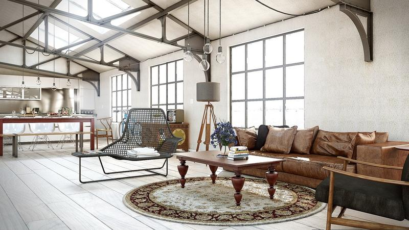 open plan industrial living room - Industrial Living Room Decor