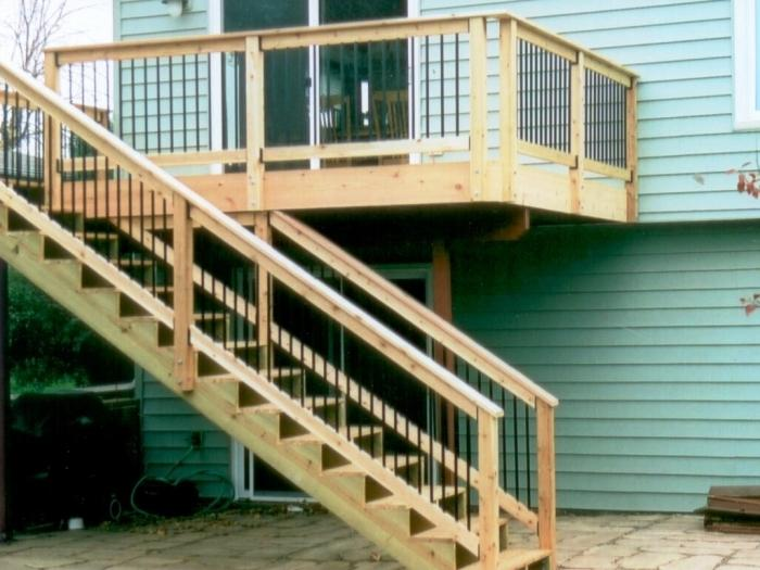 Nice Outstanding Deck With Stair Design For Outdoor Home Decoration