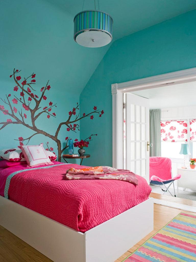 Bedroom ideas for teenage girls teal and pink - Perky Teen Girl Bedroom