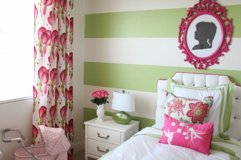 Pink And Green Striped Bedroom