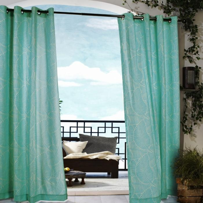 polyester leaf pattern with grommets aqua outdoor curtain design