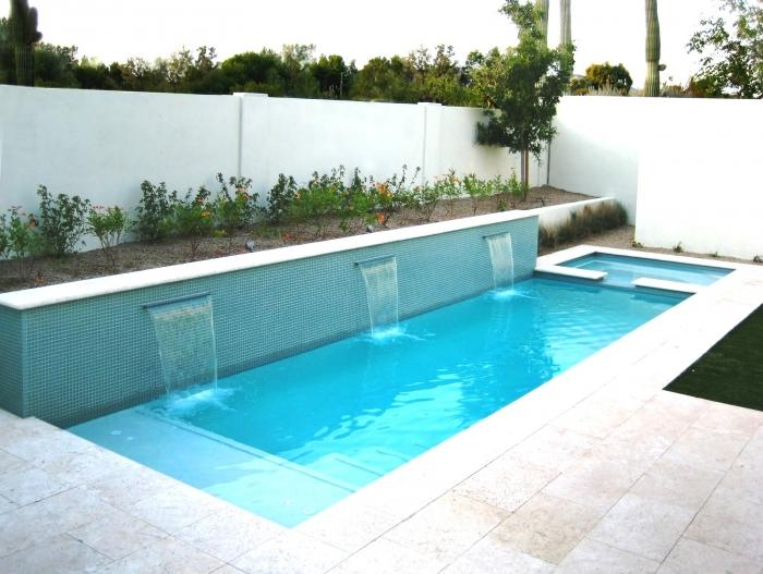 Refreshing Swimming Pool with Water Wall and Baby Pool - 10 Awesome Swimming Pools For Small Backyards - Rilane