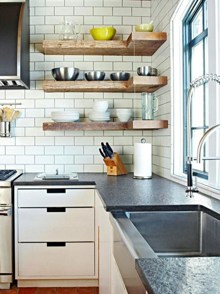 15 beautiful kitchen designs with floating shelves rilane for Small kitchen shelves