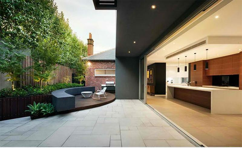 Sharp Contemporary Backyard Patio