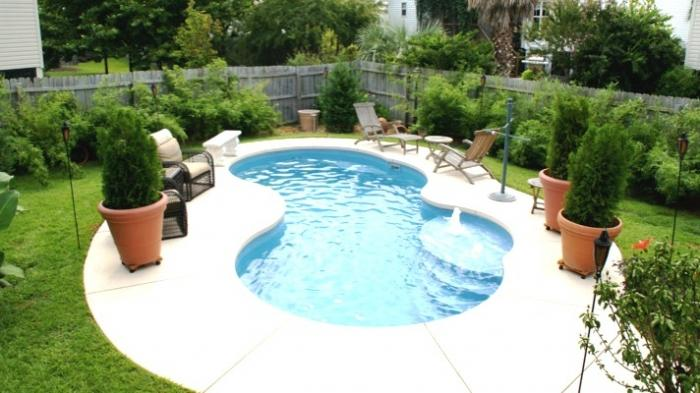 Small Kidney Shape Inground Pool Design With Umbrella