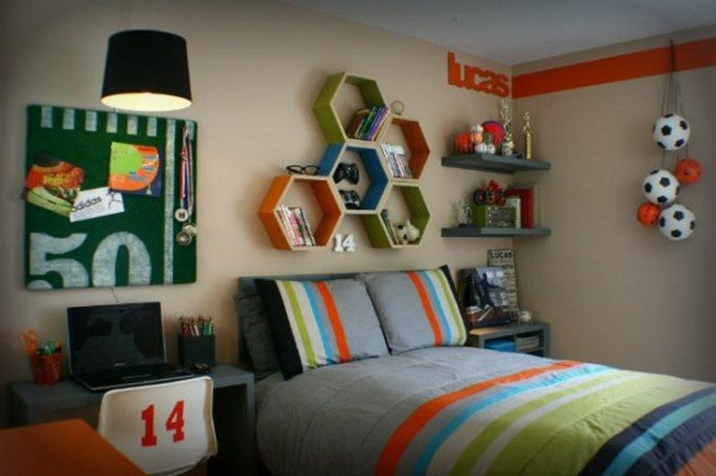 Sportsy Colorful Teen Boy Bedroom