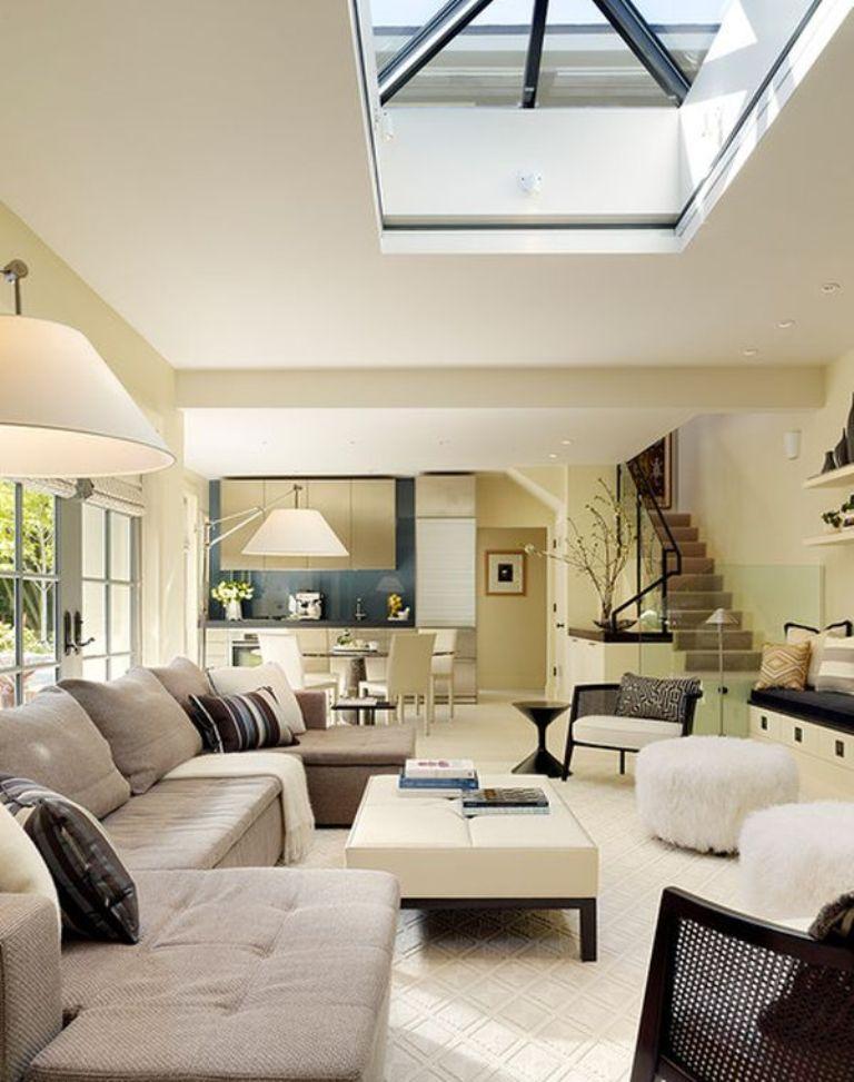 Stylish Living Room With Skylights