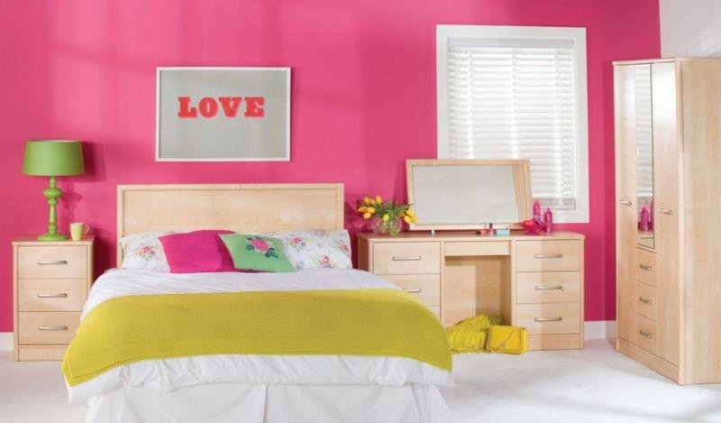 Vibrant Green And Pink Bedroom For S