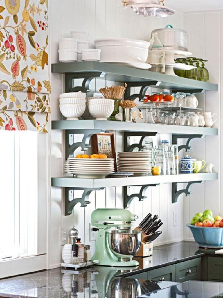 15 beautiful kitchen designs with floating shelves rilane - Ideas para colgar trapos de cocina ...