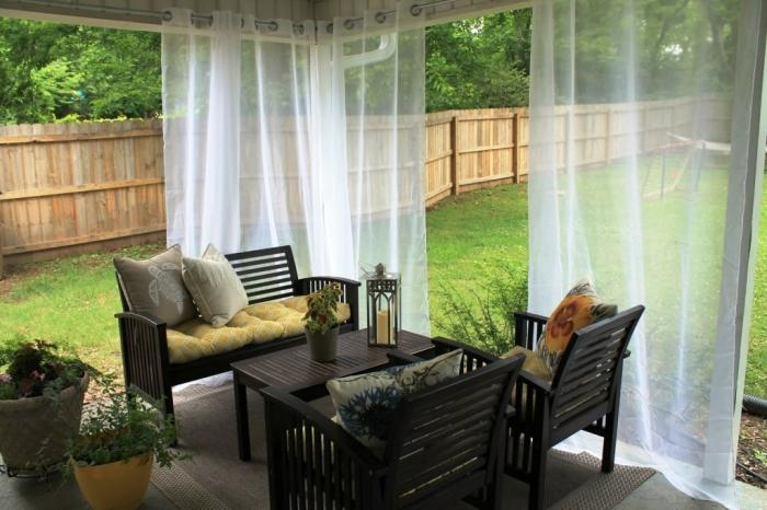 Charming White Sheer Curtain Design For The Patio