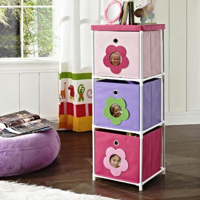 Altra Pink With Flower Theme Kids 3 Bin Storage Unit
