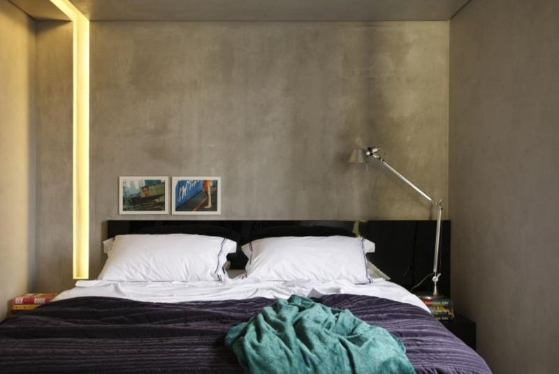 amazing bedroom with concrete walls - Concrete Walls Design