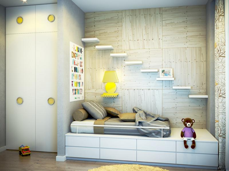 Awesome Kid's Bedroom with Floating Shelves