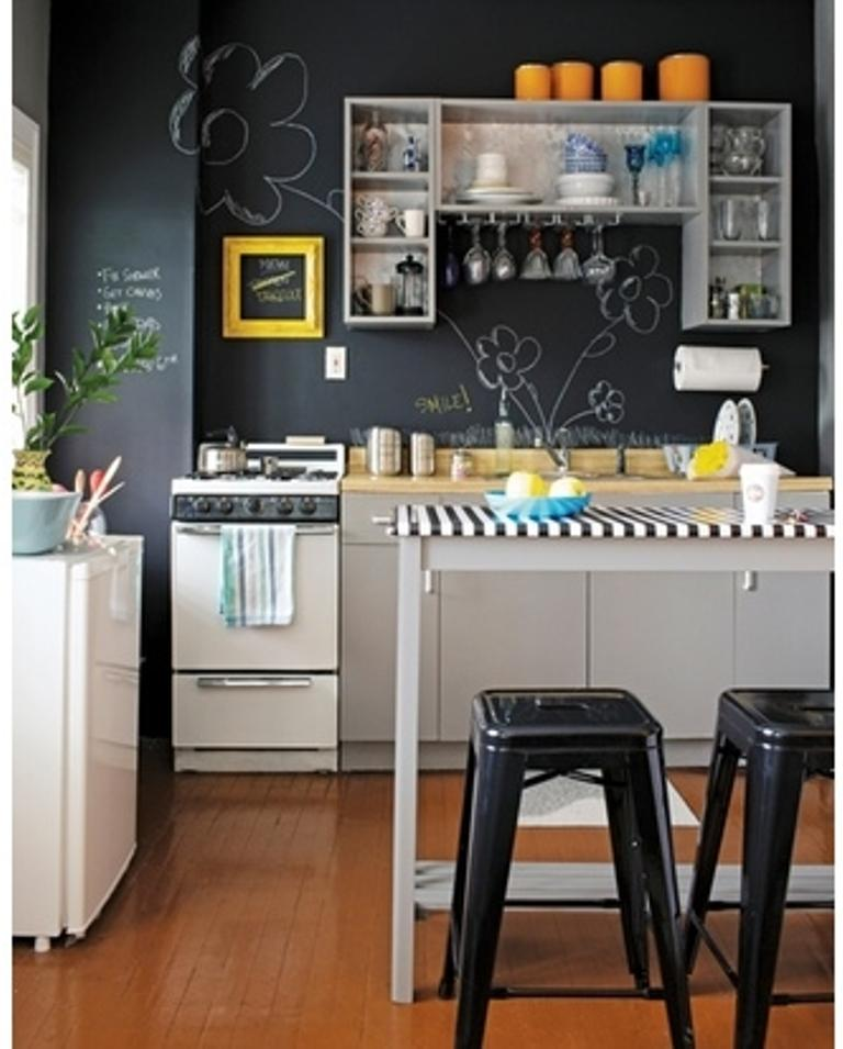 Elegant Chic Kitchen With Chalkboard Wall