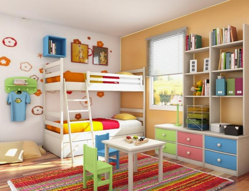 Ordinaire Colorful Kidu0027s Bedroom With Floating Shelves