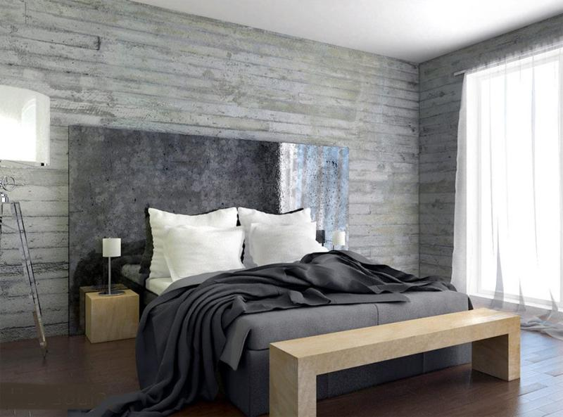 contemporary bedroom with concrete wall - Concrete Walls Design