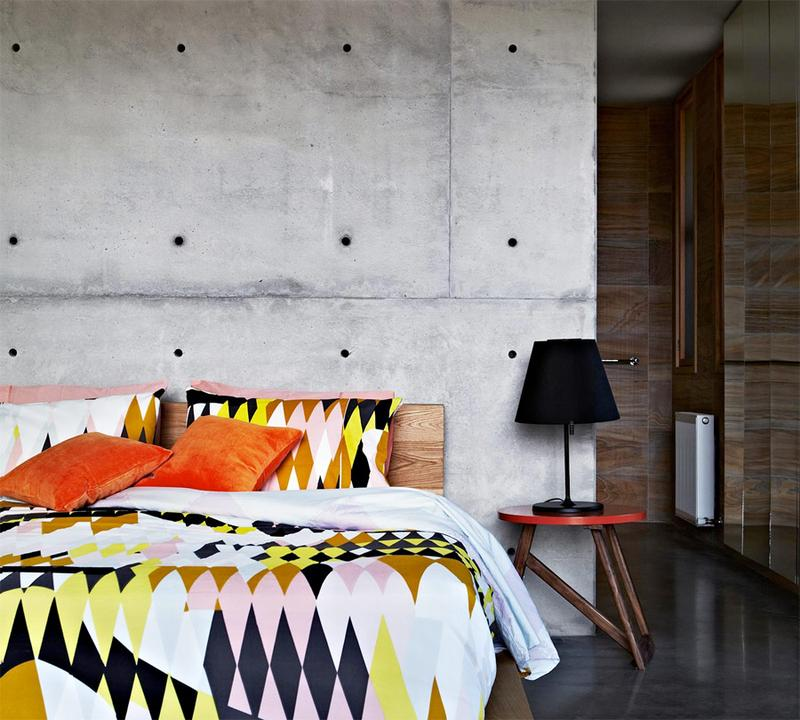 eclectic bedroom with concrete wall - Concrete Walls Design
