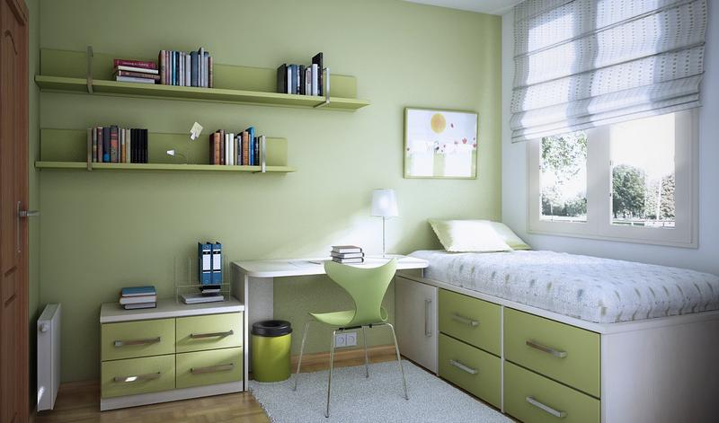 Captivating Green Kidu0027s Bedroom With Floating Shelves