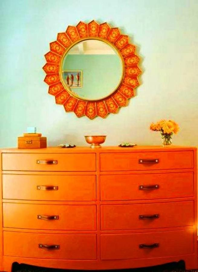 Orange Baby Dresser And Round Mirror