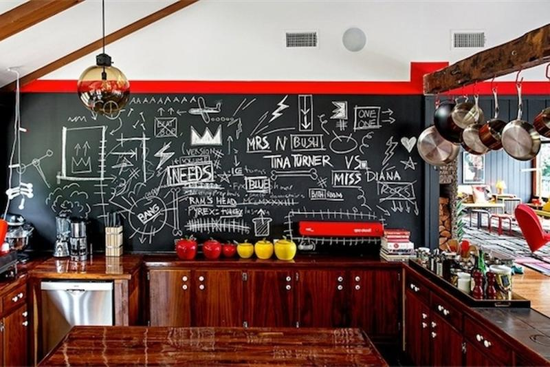 Whimsical Kitchen With Chalkboard Wall