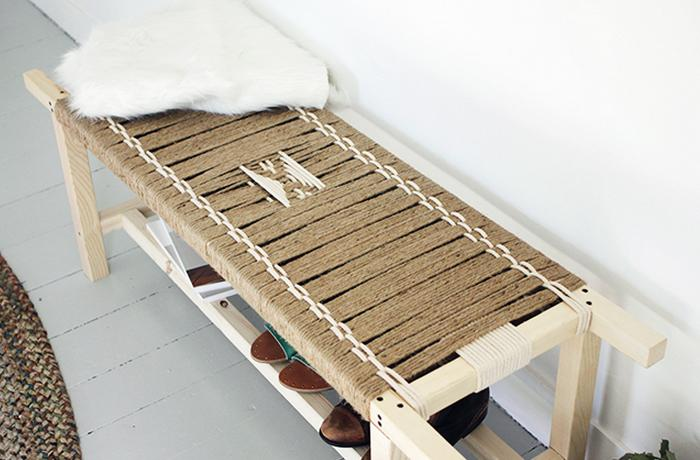 DIY WOVEN BENCH Wow  How cool is this wooden bench  right    The best thing  is the fact that is super easy to make and will take a little of your time  and  77 DIY Bench Ideas   Storage  Pallet  Garden  Cushion   Rilane. Make Simple Wood Bench. Home Design Ideas