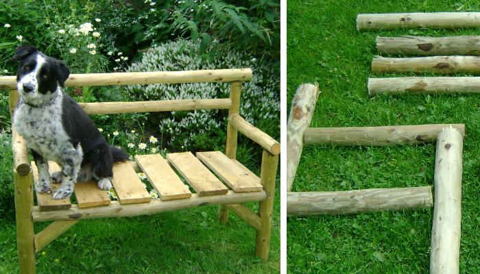 chainsaw fence poles six inch nails garden benchhow cool and super adorable is this small but super rustic and modern garden bench right