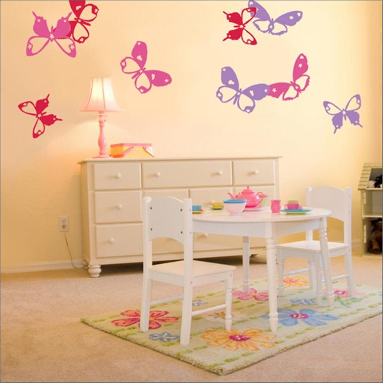 adorable girls bedroom with butterflies - Themed Teenage Bedrooms