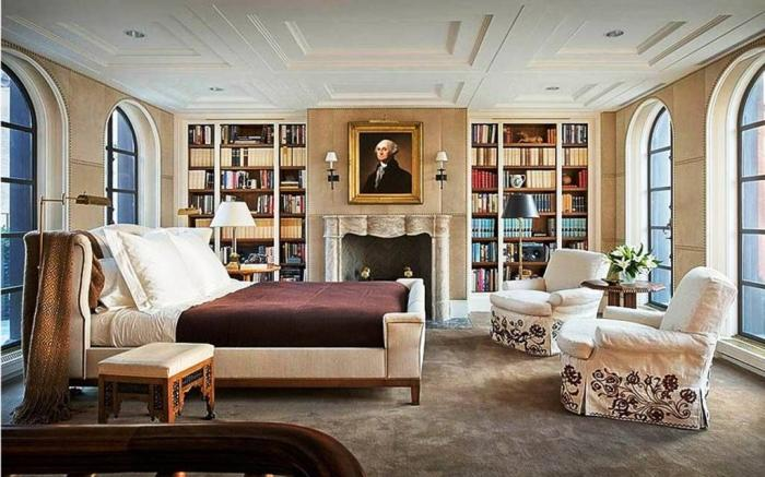 Awesome Moroccan Bedroom With Bookshelves And White Sofas