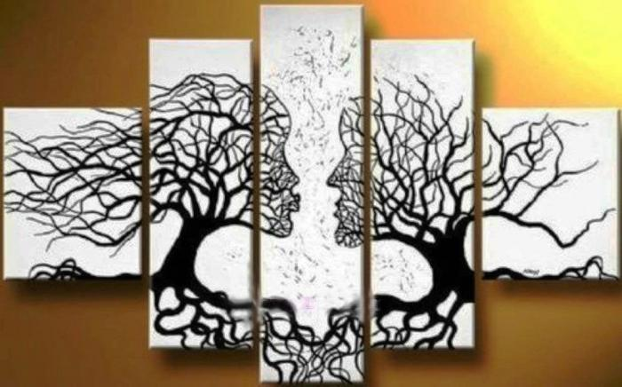 awesome typography couple face shape wall art design