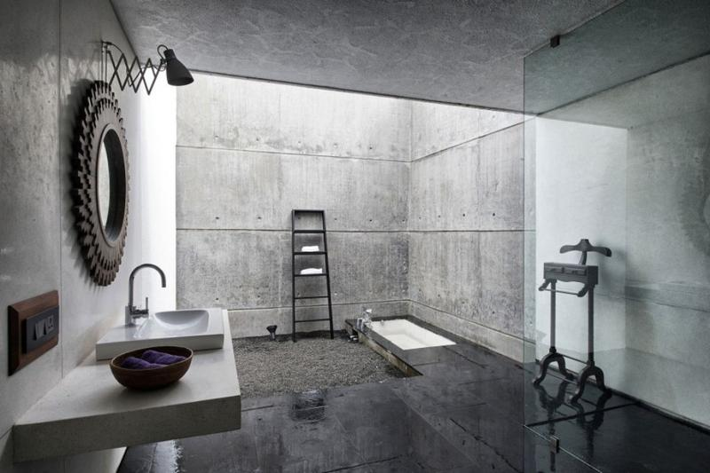 beautiful bathroom with concrete wall - Concrete Walls Design