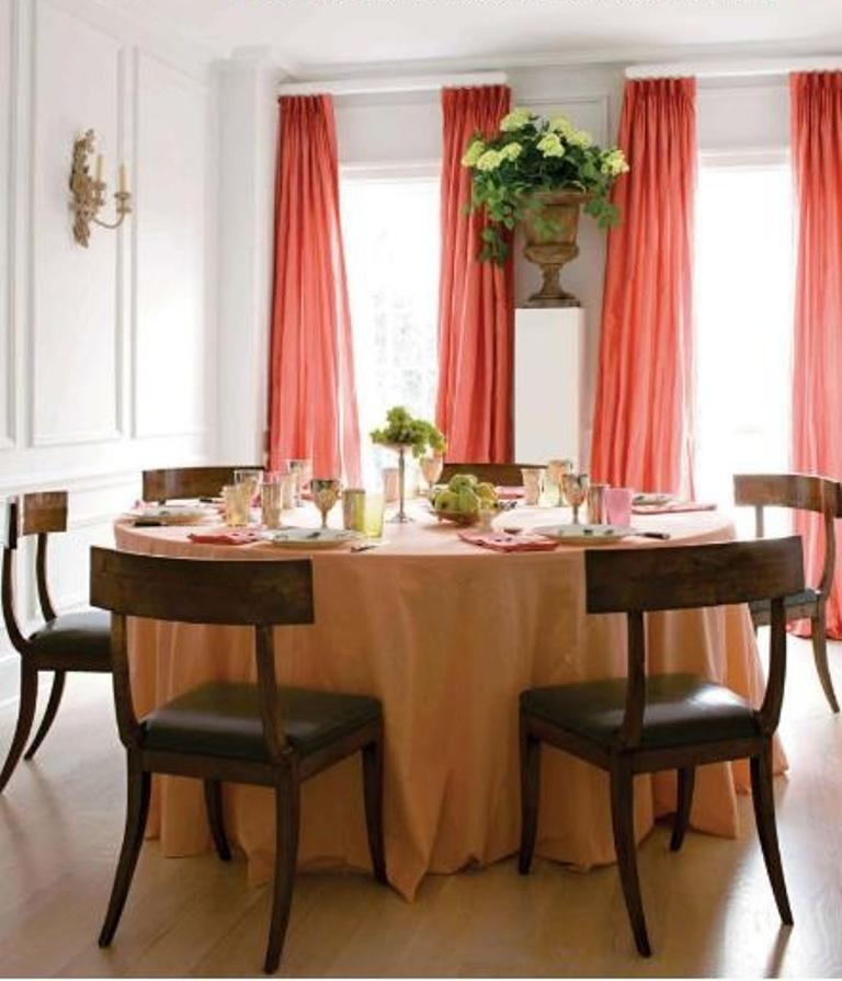Beautiful Dining Room With Coral Curtains