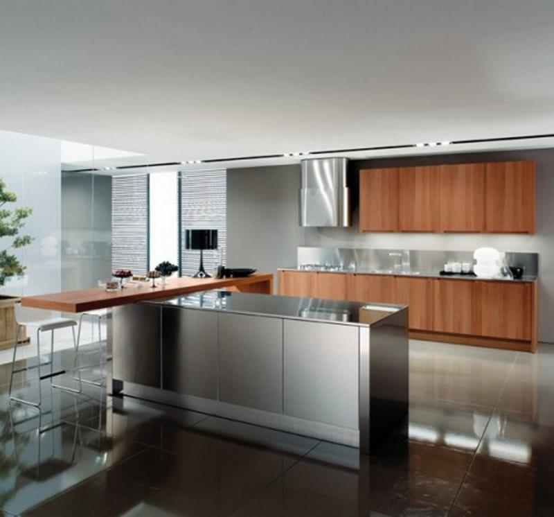 15 contemporary kitchen designs with stainless steel for Stainless steel kitchen designs