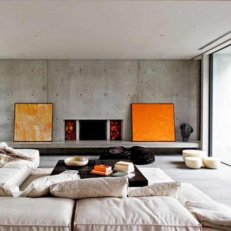 beautiful living room with concrete walls - Concrete Walls Design