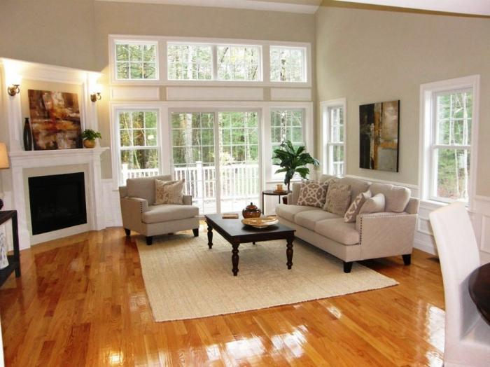 Great Beautiful Living Room With Custom French Doors