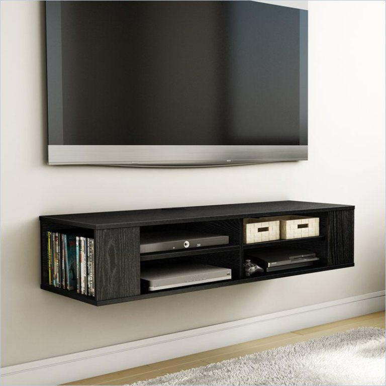 Black Wood Floating Media Cabinet