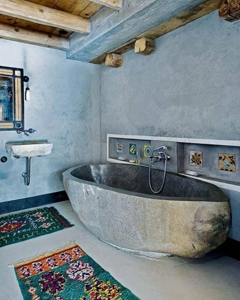 Boho Chic Bathroom With Stone Bathtub