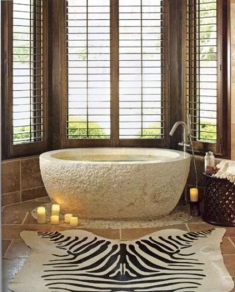 Bold Bathroom With Stone Bathtub