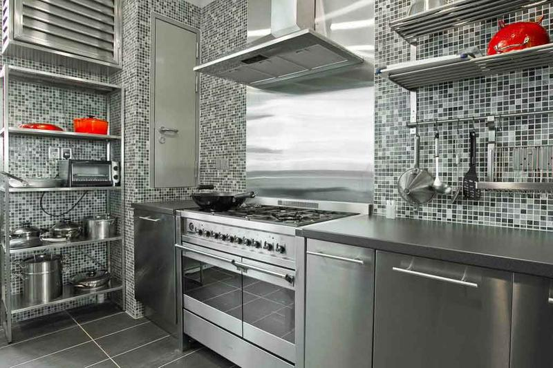 Bold Kitchen with Stainless Steel Cabinets