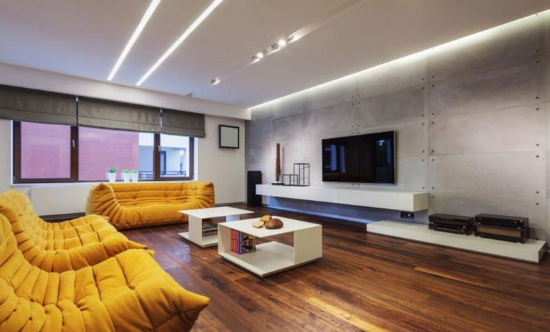 Bold Living Room With Concrete Wall