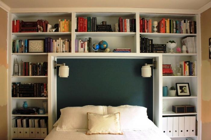 Bookshelf Headboard Bedroom Nook