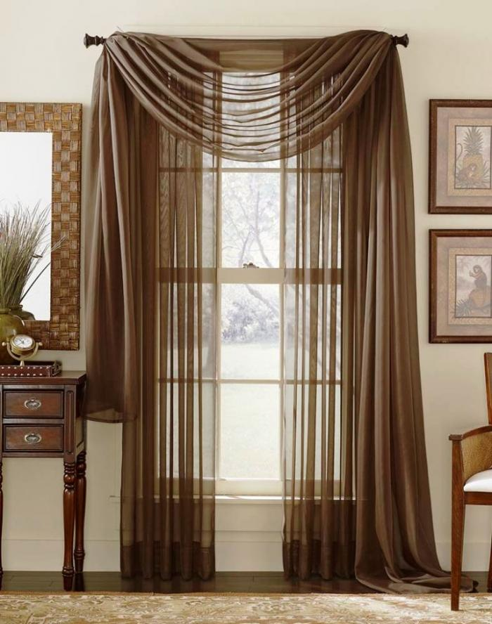 Superbe Brown Themed French Door Curtains