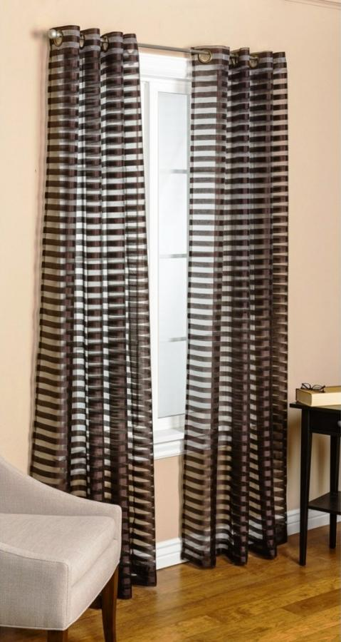 Curtains Ideas brown white striped curtains : 15 Delightful Sheer Curtain Designs for the Living Room - Rilane