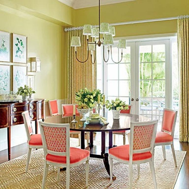 10 dining room designs with coral peach motifs rilane for Coral walls living room