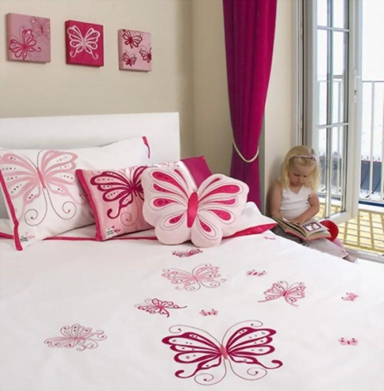 charming girls bedroom with pink butterflies - Themed Teenage Bedrooms