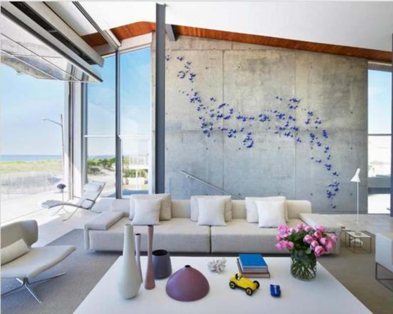 charming living room with concrete walls - Concrete Walls Design