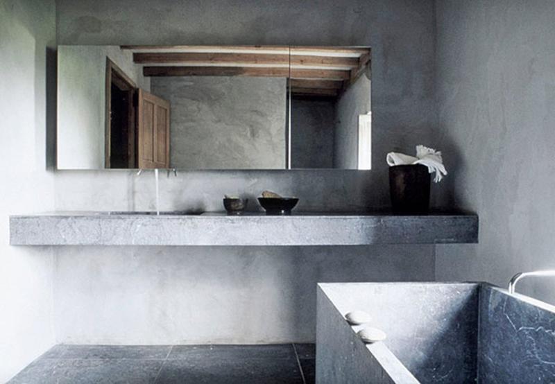 chic bathroom with concrete walls - Concrete Walls Design