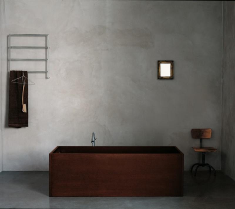 Contemporary Bathroom With Concrete Walls
