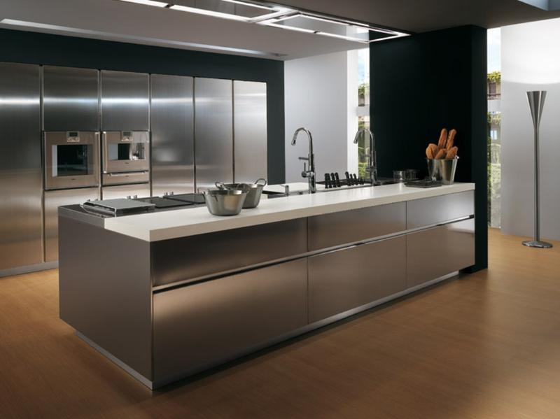 Contemporary Kitchen with Stainless Steel Cabinets